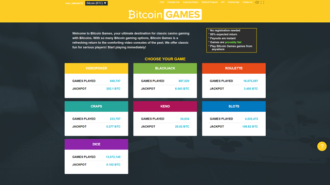bitcoin.com games casino site