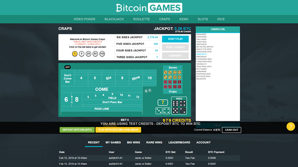 bitcoin.com games craps page
