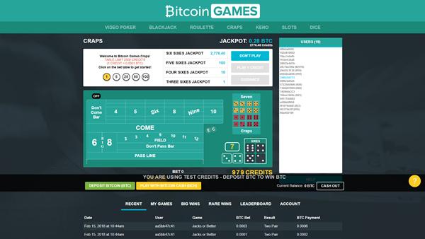 bitcoin.com games craps page