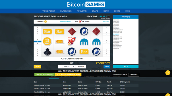 bitcoin.com games slot page