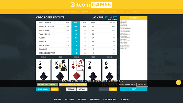bitcoin.com games video poker page