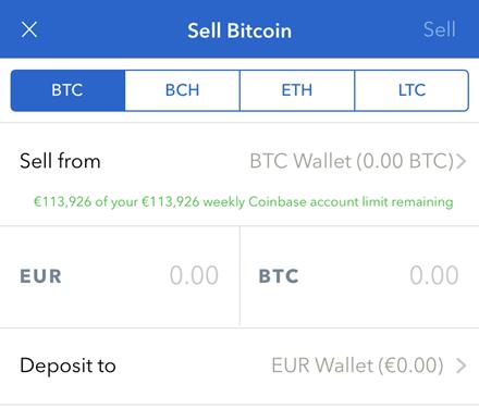 coinbase sell btc page