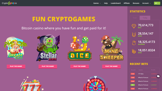 cryptogames.io bitcoin casino site