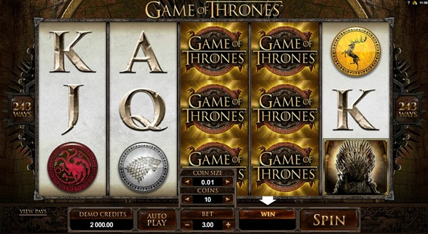 Game of Thrones slot game wheels