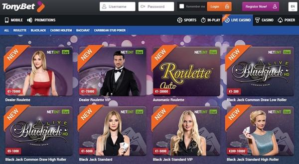 tonybet casino lansing page
